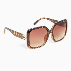 TORTOISE SHELL OVER SIZED SQUARE SUNGLASSES